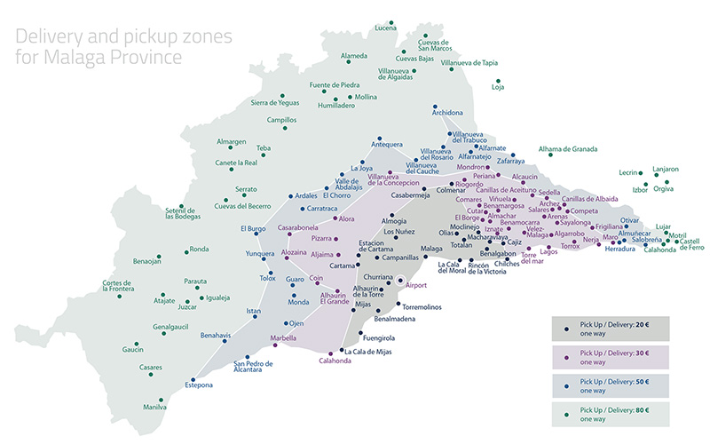 Bike rental and delivery service – Andalusia map and zones