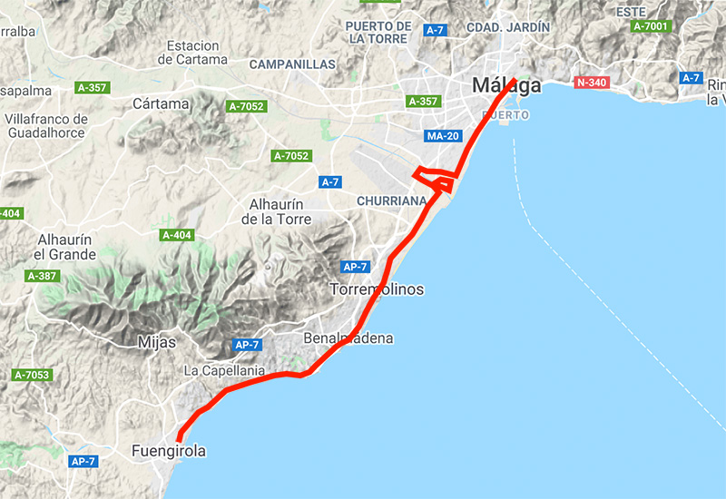 Bike path to the West Coast of Malaga
