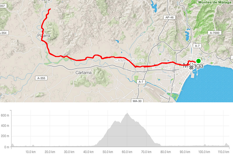 Guided road bike tour TRES CABALLOS map