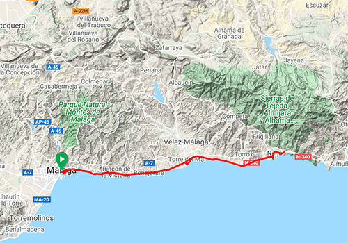 Cycling route along the coast Malaga – Nerja