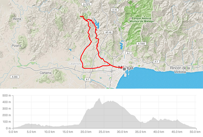 Cycling map for road bike routes Malaga – Malaga-Campanillas-Almogia-Puerto de la Torre