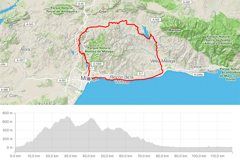 Advanced guided road bike tour from Malaga to Axarquia map