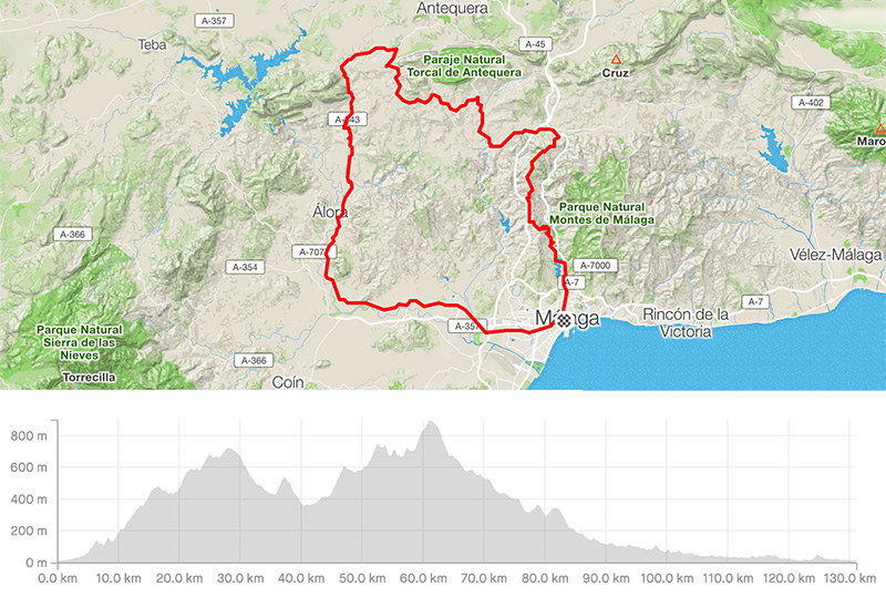 Guided road bike tours in Malaga – El Torcal map