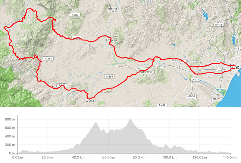Cycling map for road bike routes Malaga – Pizarra-El Burgo-Coin