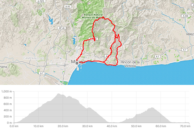 Cycling map for road bike routes Malaga – Personal Uphill Challenge