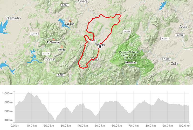 Cycling map for road bike routes Ronda – Vuelta 2014 Stage Ronda