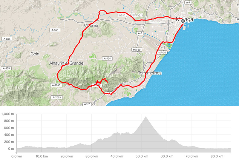 Cycling map for road bike routes Malaga – Mijas Broadcast Station