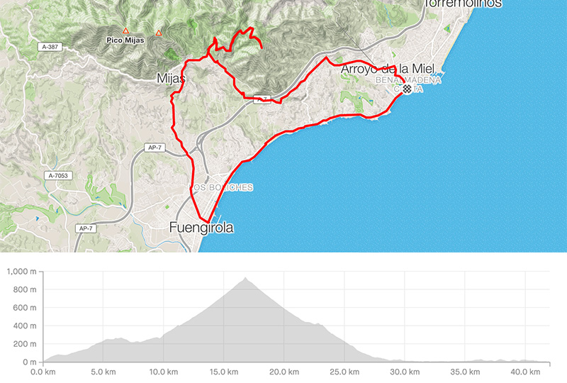 Cycling map for road bike routes Costa del Sol - Benalmadena – Mijas Broadcast Station