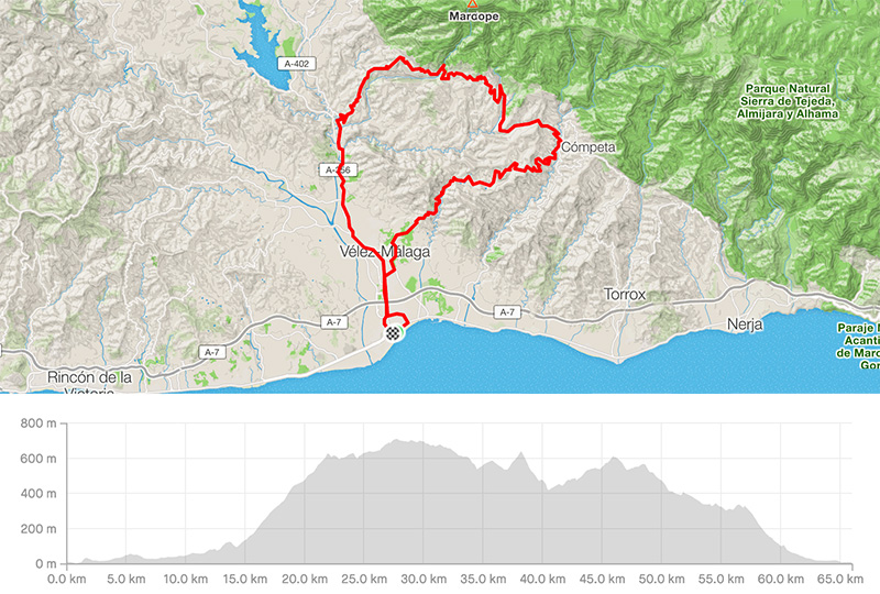 Cycling map for road bike routes Malaga Costa del Sol - Torre del Mar - Canillas de Aceituno