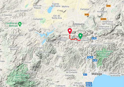 Cycling routes and maps around Malaga – mountain pass Puerto de la Joya