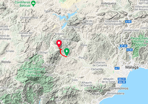 Cycling routes and maps around Malaga – Mountain pass Puerto Martinez
