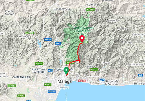 Routes and maps for cycling in Malaga – Mountain pass Puerto del Leon / Fuente de la Reina